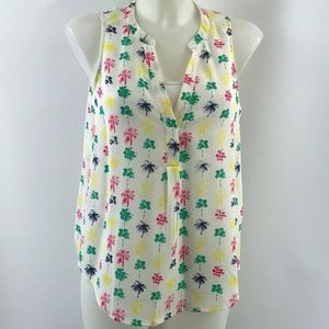 Joie White Palm Tree Print Tank Size XS
